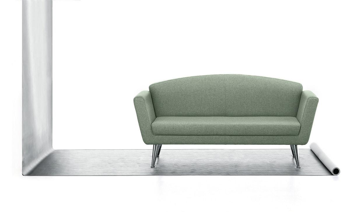 Wing 02, 2 plazas sofá, tapizado en poliuretano, base de acero