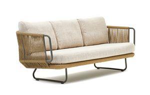 Babylon sofá 3p, Sofá 3 lugares en aluminio y cuerda sintética, para exterior