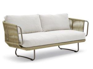 Babylon sofá, Sofá elegante, de aluminio y cuerda, para el aire libre