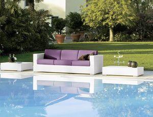 Cora sofá 3p, Tejido 3 plazas sofá, para bar de playa y salones