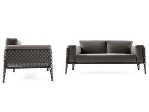 Pois sofá 2p, Sofá para exteriores, cojines desmontables, estructura de acero