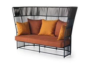 Tibidabo alta sofá, Sofá al aire libre elegante, con tejidos de alta del respaldo