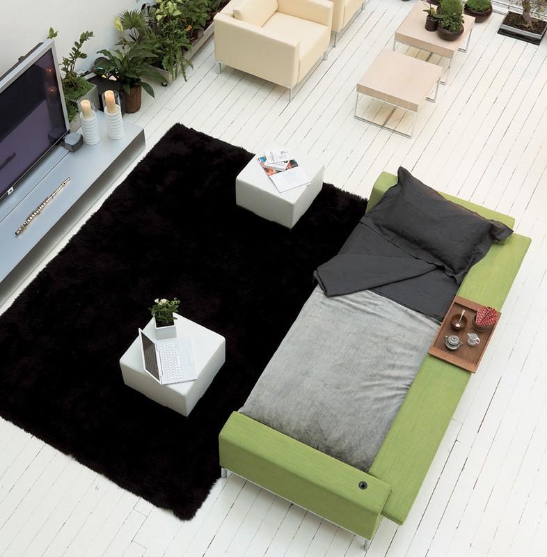 Arian bed, Sofá cama con estructura de madera, pie cromado