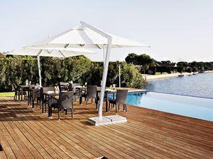 Copacabana, Sombrilla cuadrada, aluminio y acero, para el jardín y el bar