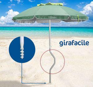 Sombrilla de playa patentada Girafacile – GF20ALUV, Sombrilla con broca para facilitar el atornillado