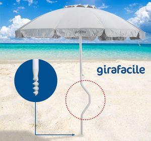 Parasol de playa patentado Girafacile - GF220UVA, Paraguas con 2,20 m de diámetro adecuado para la playa