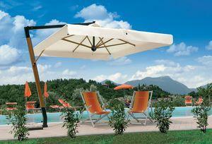 Palladio arm, Sombrilla con estructura de madera, para los jardines y piscinas