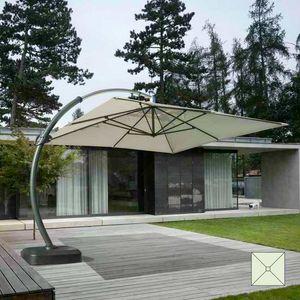 Paraguas de jardín de aluminio de gran tamaño Copenaghen - CO350POL, Sombrilla cuadrada, fuerte y durable