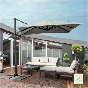 Parasol jardín 2,5 metros cuadrados brazo barra de aluminio hotel PARADISE - PA250UVA, Parasol cuadrado con brazo lateral