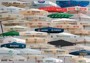 Parasols for brands advertising, Paraguas de publicidad de sol hechas de madera y de aluminio