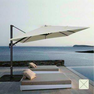 Sombrilla de jardín 3x3 barra de brazo cuadrado de aluminio hotel VIENA - VI303POL, Parasol cuadrado ajustable con brazo