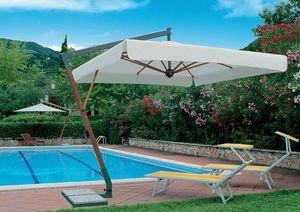 Torino arm, Sombrilla con viento sistema de ventanilla única, estructura de madera