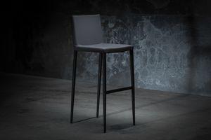 ART. 252/4 MISS, Taburete de metal, tapizado en cuero o tela