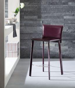 Infinity taburete, Taburete cubierto con cuero, disponible en varios colores, de hotel y cocina