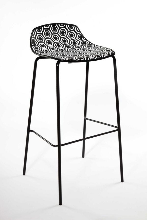 Alhambra Stool 67, Taburete en tubo de acero pintado, asiento de polímero