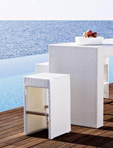 Cora taburete de bar, Taburete de tejido, Framen aluminio, para el aire libre