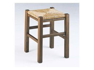 173, Taburete cuadrado rústico, con asiento de paja, para el vino-bar