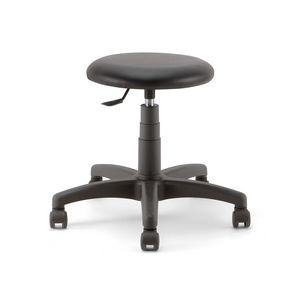 Mea Soft 01, Taburete con ruedas, con asiento acolchado.