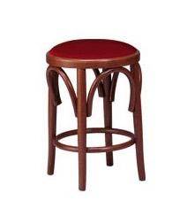 V08, Bajo Taburete en madera de haya, asiento tapizado, estilo vienés