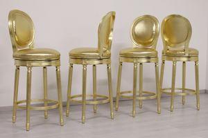 Rotondo giratorio, Taburete con asiento giratorio, acabado en oro