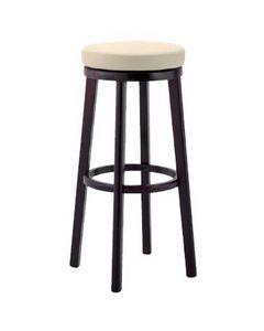 297, Taburete de madera con asiento tapizado para bars y pubs