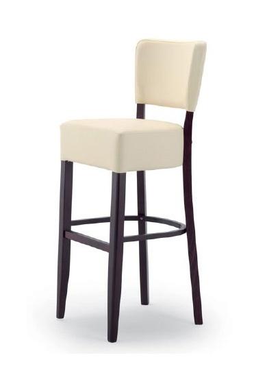 303, Taburete de madera con asiento y respaldo tapizados
