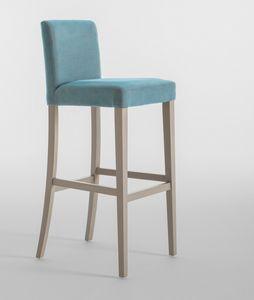C03SG, Taburete con estructura de madera, asiento y respaldo tapizados, para restaurantes y hoteles