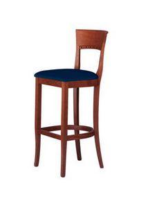 C17 SG, Taburete en madera maciza, con asiento tapizado