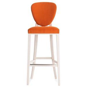 Cammeo 02681 - 02691, Taburete de madera maciza, asiento y respaldo tapizados, revestimiento de tela, estilo moderno