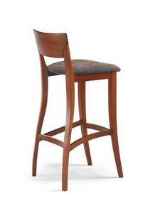 Egle SG, Taburete alto de madera de haya, con asiento tapizado, para cocinas
