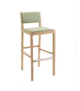 ER 440022, Taburete moderno de madera con asiento tapizado