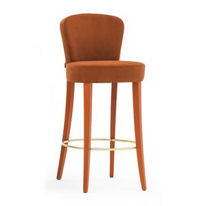 Euforia 00181, Taburete de madera maciza, asiento y respaldo tapizados, cubiertas de tela, estilo moderno