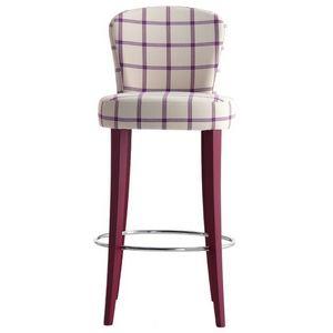 Euforia 00191, Taburete de madera maciza, asiento y respaldo tapizados, cubiertas de tela, estilo moderno