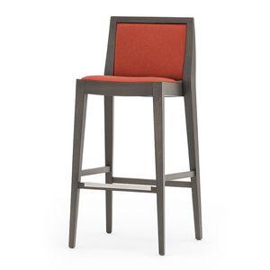 Flame 02181, Taburete de madera maciza, asiento y respaldo tapizados, revestimiento de tela, el reposapiés de acero, para el uso del contrato