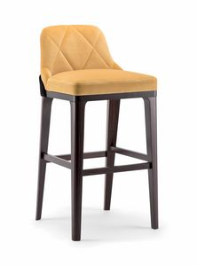GILL BAR STOOL 070 SG, Taburete tapizado con patas de madera maciza