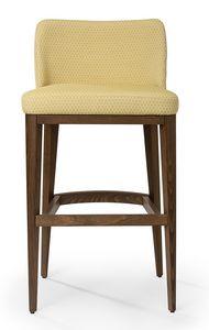 Katel stool A, Banqueta acolchada con respaldo bajo