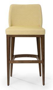 Katel stool B, Taburete tapizado con respaldo alto