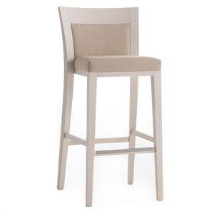 Logica 00982, Taburete de madera maciza, asiento y respaldo tapizados, revestimiento de tela, con zócalo de acero inoxidable, para entornos de contrato y domésticos