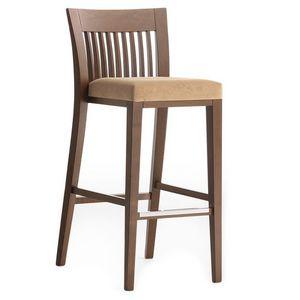 Logica 00984 - 00994, Taburete de madera maciza, asiento tapizado, cubierta de tela, con zócalo de acero inoxidable, por contrato y uso doméstico