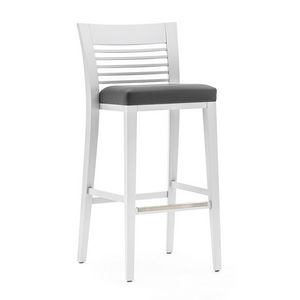 Logica 00985, Taburete de madera maciza, asiento tapizado, cubierta de tela, con zócalo de acero inoxidable, por contrato y uso doméstico