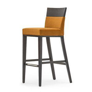 Logica 00988, Taburete de madera maciza, asiento y respaldo tapizados, revestimiento de tela, con zócalo de acero inoxidable, por contrato y uso doméstico
