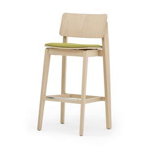 Offset 02882, Taburete de madera maciza, asiento tapizado, estilo moderno
