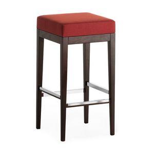 Pouf 01384, Taburete Square en madera maciza, asiento tapizado, cubierta de tela, para el uso del contrato