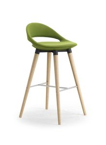 Samba 4G taburete de madera, Taburete moderno con piernas cónicas y reposapiés