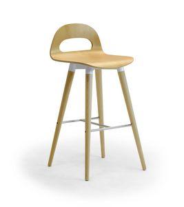 Samba Wood stool 4G, Taburete con patas de madera y concha