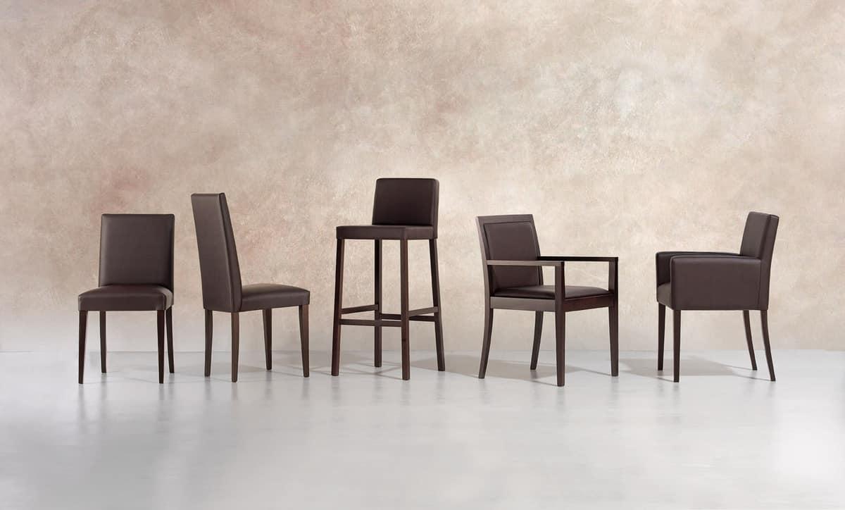 Relax SG, Taburete de madera con asiento y respaldo acolchado