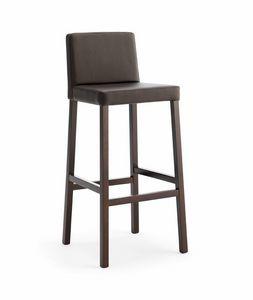 SG. RELAX, Taburete de madera con asiento y respaldo acolchado
