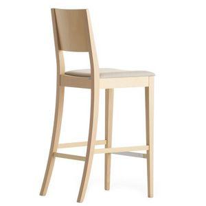 Sintesi 01581, Taburete de madera maciza, asiento tapizado, cubierta de tela, para entornos de contrato y domésticos