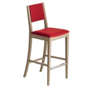 Sintesi 01582, Taburete de madera maciza, asiento y respaldo tapizados, revestimiento de tela, con zócalo de acero inoxidable, para entornos de contrato y domésticos
