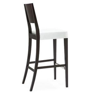 Sintesi 01583, Taburete de madera maciza, asiento tapizado, cubierta de tela, con zócalo de acero inoxidable, estilo moderno